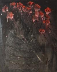 BADAIRE Jean-Gilles - Vase aux fleurs rouges