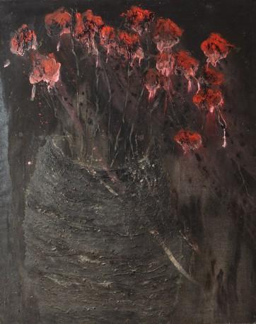 BADAIRE Jean-Gilles - Vase aux fleurs rouges - BADAIRE_JEAN-GILLES_125