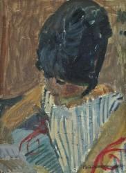 Portrait de femme à la robe rayée