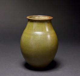DEBLANDER Robert - Vase oblong vert-bronze brillant