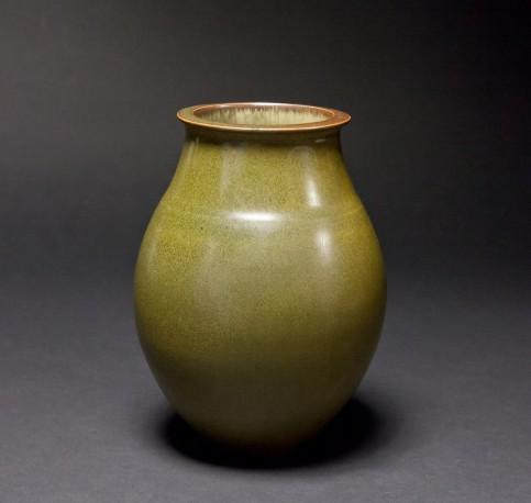 DEBLANDER Robert - Vase oblong vert-bronze brillant - DEBLANDER_ROBERT_163