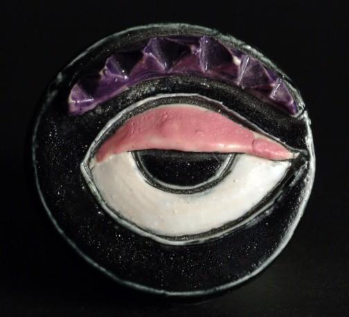 Petite pièce pour chasser le mauvais oeil - Noir soucil violet - COVILLE_JACKY_456