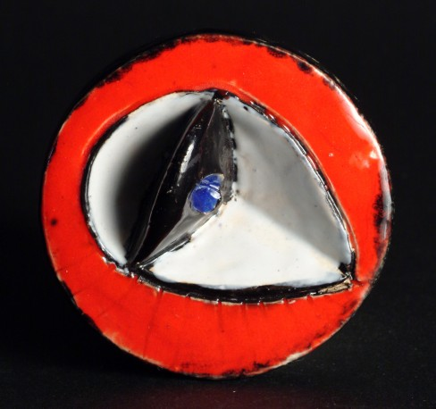 Petite pièce pour chasser le mauvais oeil - Rouge pupille bleue - COVILLE_JACKY_459