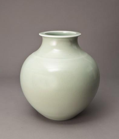 DEBLANDER Robert - Gros vase rond céladon, col méplat - DEBLANDER_ROBERT_217
