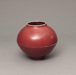DEBLANDER Robert - Vase rond à arête rouge