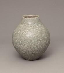 DEBLANDER Robert - Vase rond à émail moucheté gris-bleu
