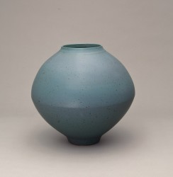 DEBLANDER Robert - Grand vase bleu double coupe