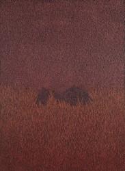 Femme dans l'herbe rouge