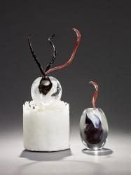 MONOD Isabelle - Bouquet sur cylindre dévitrifié